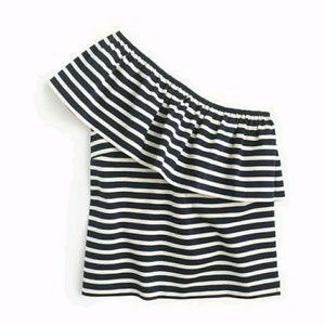 Jcrew One Shoulder Navy Stripes Top L